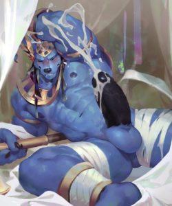 Buff Anubis gay furry comic